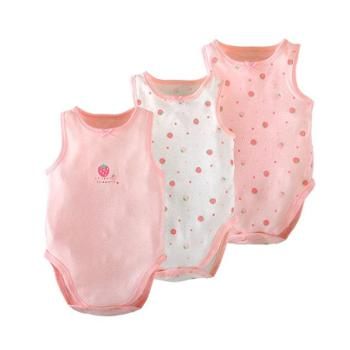 3件婴幼儿连体衣服夏季男女宝宝卡通动物纯棉无袖三角包屁衣爬服