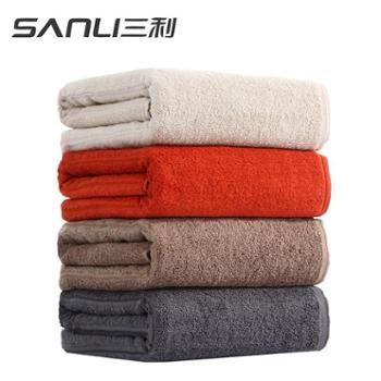 三利毛巾浴巾纯棉加大加厚吸水柔软家用纯色浴巾1条装