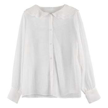 HZ2019春季韩版甜美风两件套荷叶边透视打底衬衫女C29264