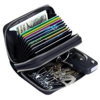 新款多功能钥匙包卡包拉链女真皮rfiid保护卡套男士多卡位防扫描CL-5063