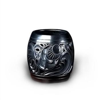 【屈陶屈陶】年年有鱼黑陶笔筒工艺品送礼定制公司福利摆件手工艺术品