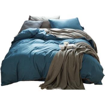 花蓉蓉全棉1.8m床上用品纯棉双拼款简约纯色1.5米床品被套四件套