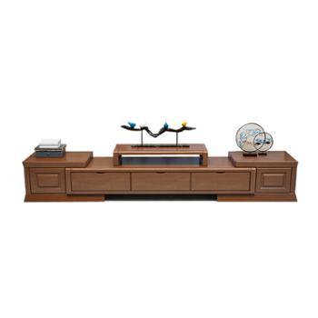实木电视柜茶几组合新中式现代简约可伸缩卧室柜地柜储物客厅家具