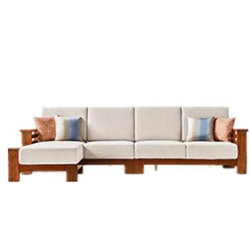 新中式实木布艺沙发转角沙发组合