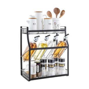 美厨不锈钢三层调料架调味瓶架免安装厨房置物架黑色MCWA875