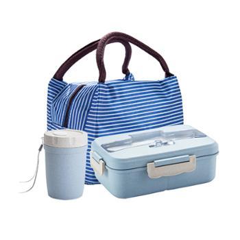 美厨小麦秸秆分隔饭盒蓝色系赠餐具赠保温袋赠汤杯MCFT279