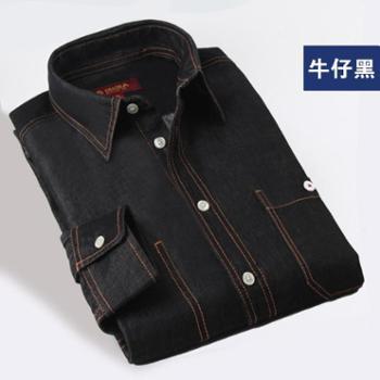 多佳特宽松欧版防静电透气厚款全棉牛仔长袖运动休闲衬衫男衬衣200013