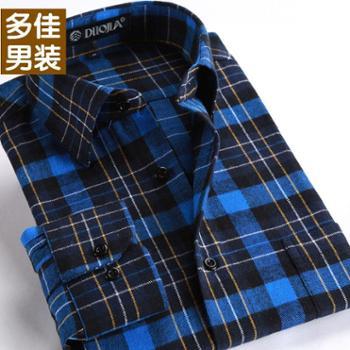 多佳爸爸装中年男士长袖衬衫中老年春季男装大码宽松休闲格纹衬衣200014