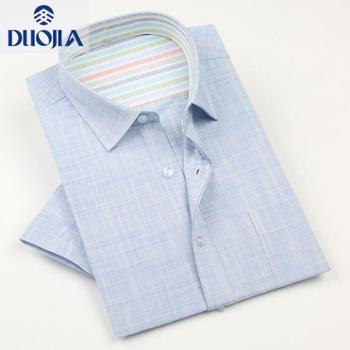 多佳夏款亚麻衬衫短袖薄款男式休闲棉麻衬衣200074