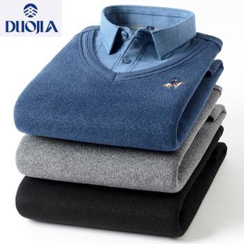 多佳男款假两件套保暖衬衫200062加绒加厚