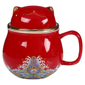 国潮风故宫猫带盖陶瓷马克杯送旅行包