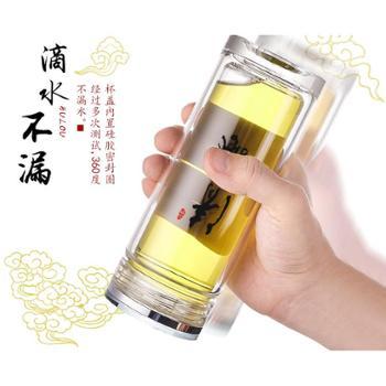 水晶玻璃杯茶杯便携杯子双层隔热耐热透明水杯商务办公男士礼品杯