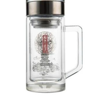 捷夫玻璃水杯双层玻璃杯子大容量带滤网把手商务办公水杯玻璃茶杯