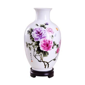 瓷博景德镇陶瓷工艺品摆件花瓶富贵吉祥牡丹花开瓷瓶家居装饰摆设瓷器