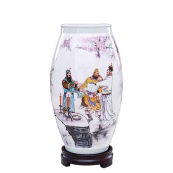 瓷博景德镇陶瓷工艺品摆件三国演义桃园结义瓷瓶