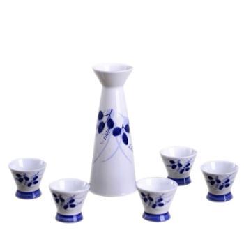 瓷博景德镇陶瓷6头兰花酒具套装
