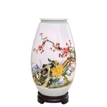 瓷博 景德镇瓷器花瓶装饰品摆件工艺品 四君子雅聚图大号陶瓷客厅书房摆设