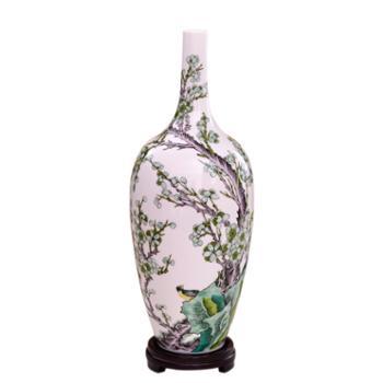 瓷博 景德镇陶瓷花瓶摆件 春信瓷瓶古朴中式客厅