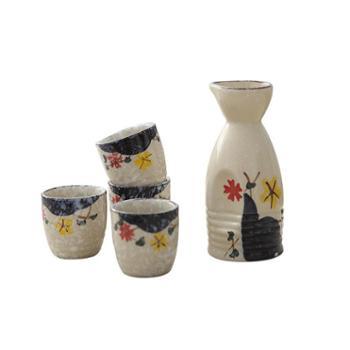 佰润居日式陶瓷手绘酒具套装一壶四杯