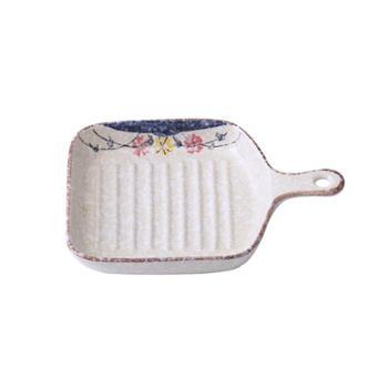陶瓷带柄烤盘 日式手绘烤箱烘焙焗饭烤盘