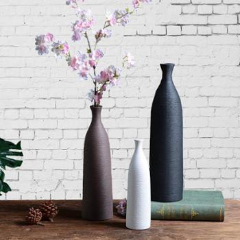 北欧素烧拉丝陶瓷花瓶收口密纹简约日系插干花器客厅装饰