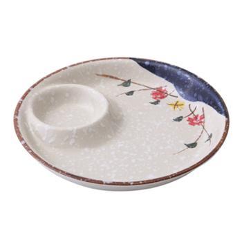 【10寸】日式饺子盘 手绘陶瓷家用雪花釉盘子