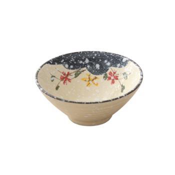 佰润居 雪花釉饭碗 日式米饭碗陶瓷碗喇叭碗广口碗