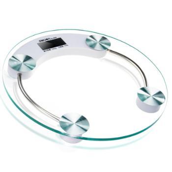 得力体重计秤体重9028圆形电子健康秤8mm钢化玻璃直径330mm电子秤