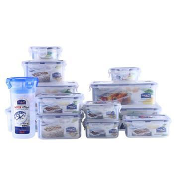 乐扣乐扣塑料保鲜盒13件套装可微波加热可冷藏储存带水杯冰箱收纳824S001