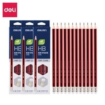 得力(deli)学生铅笔学生文具HB2BS935HB带橡皮36支