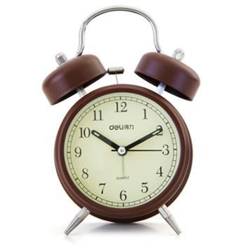得力夜光学生床头钟闹钟复古风9025仅剩棕色