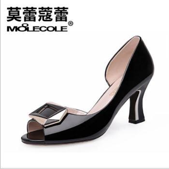 莫蕾蔻蕾春款女鱼嘴鞋单鞋粗跟高跟防水台职业凉鞋70183