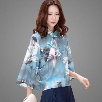 翠啼鸟女装中式复古立领盘扣斜襟短款上衣薄衬衫SY089
