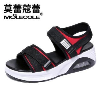 莫蕾蔻蕾夏季凉鞋松糕跟百搭罗马气垫沙滩鞋女鞋8225
