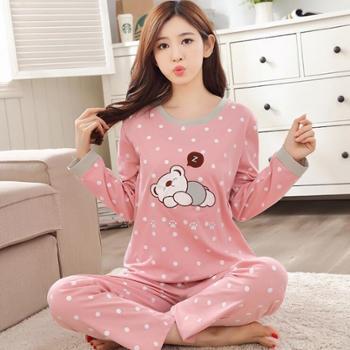 娜新元春秋季女士长袖纯棉薄款睡衣家居服套装