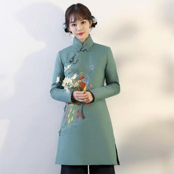 翠啼鸟 新款冬季绣花复古中式棉袄高领民族风长款女棉服 MY050