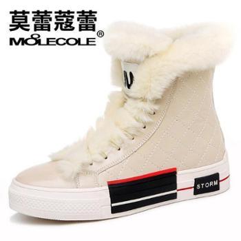 莫蕾蔻蕾 冬季新款加绒高帮女鞋韩版学生雪地靴棉鞋 8419