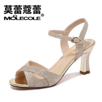 莫蕾蔲蕾新款欧美性感鱼嘴粗跟一字扣带女凉鞋9267