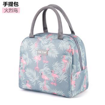 创得韩国饭盒袋保鲜盒便当包手提包条纹带饭手拎帆布袋学生拎午餐