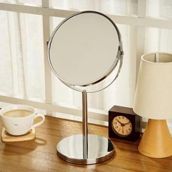 欧润哲7英寸化妆镜台式双面镜子可爱公主梳妆镜金属浴室镜美容