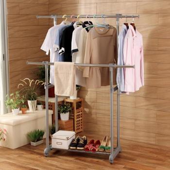 欧润哲可升降粗款双杠晾衣架落地室内创意阳台晒衣架移动凉衣杆