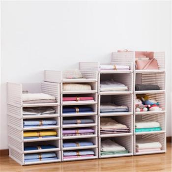 日常居家生活用品)单个装衣服收纳箱抽屉式收纳筐塑料分隔多层衣橱整理箱衣柜收纳盒置物架