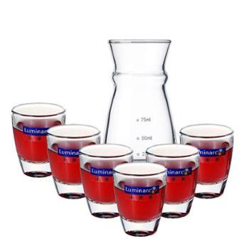 乐美雅小酒杯30ml厚底白酒杯6支装+分酒器