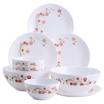 乐美雅罗曼红钢化玻璃餐盘餐碗餐具10件套