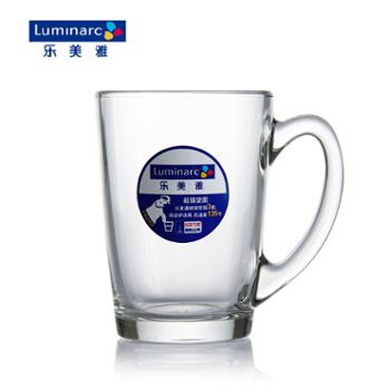 乐美雅钢化玻璃清晨透明把杯320ml(2只装)