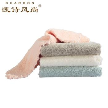 凯诗风尚珊瑚绒花边小毛巾(四条装)