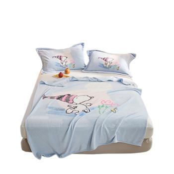 凯诗风尚史努比联名款法兰绒毛毯保暖床单盖毯