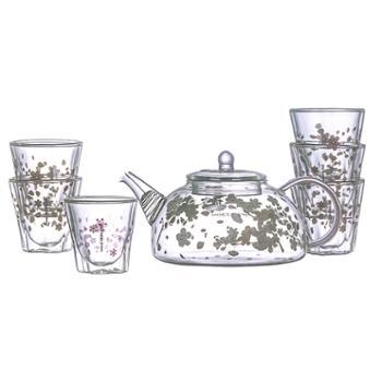 明尚德樱花套组一壶6杯套组双层茶杯