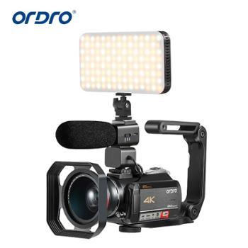 欧达/Ordro 智能4K高清摄像机DV12倍光学变视频数码超清接麦克风广角 HDR-AC5