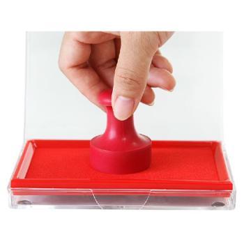 得力办公用品文具9864大号超大印泥 红蓝色财务速快干加墨印台